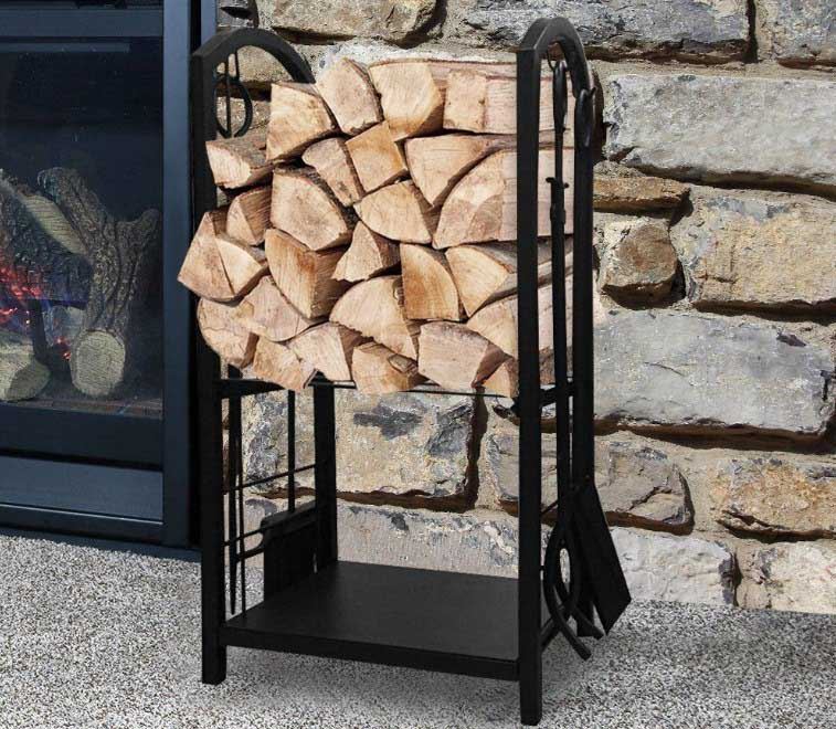 Best indoor firewood rack Fireplace Log Rack with 4 Tools Indoor Outdoor Fireside Firewood Holders Lumber Storage Stacking Black Wrought Iron Logs Bin Holder for Fireplace Tool REview