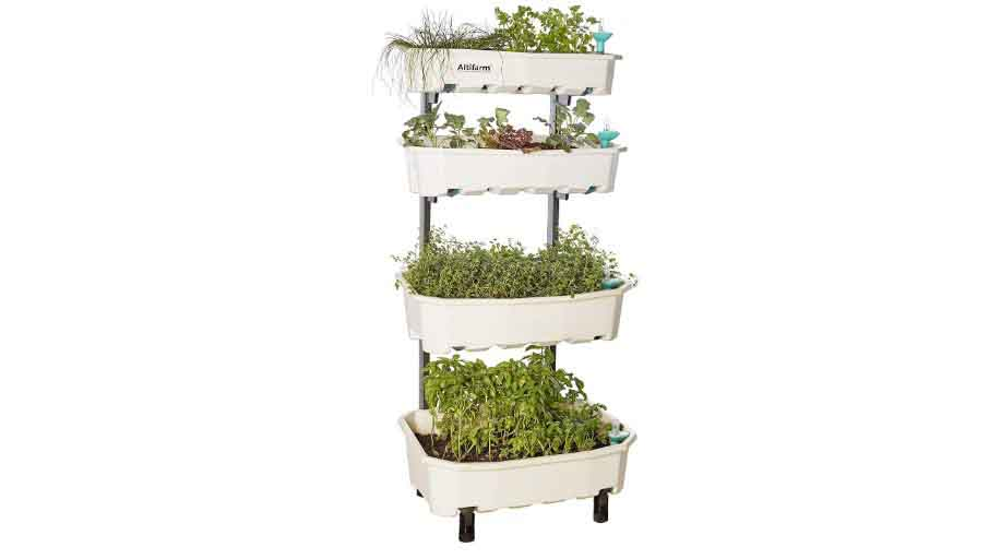 Altifarm Home Farm Vertical Raised Elevated Garden Self-watering Planter Kit For Indoor & Outdoor Gardening (4 Tier, White) - Premium All-season Grow System