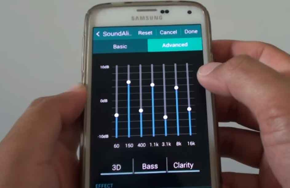 Equalizer bass settings on Samsung