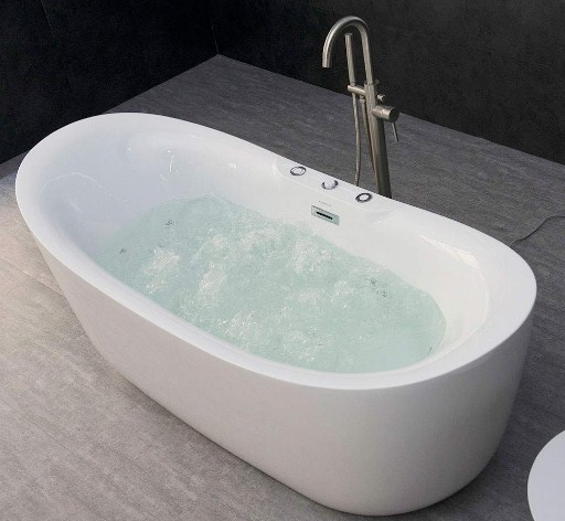 Whirlpool Water Jet and Air Bubble Freestanding Bathtub (71 x 31.5 inches)