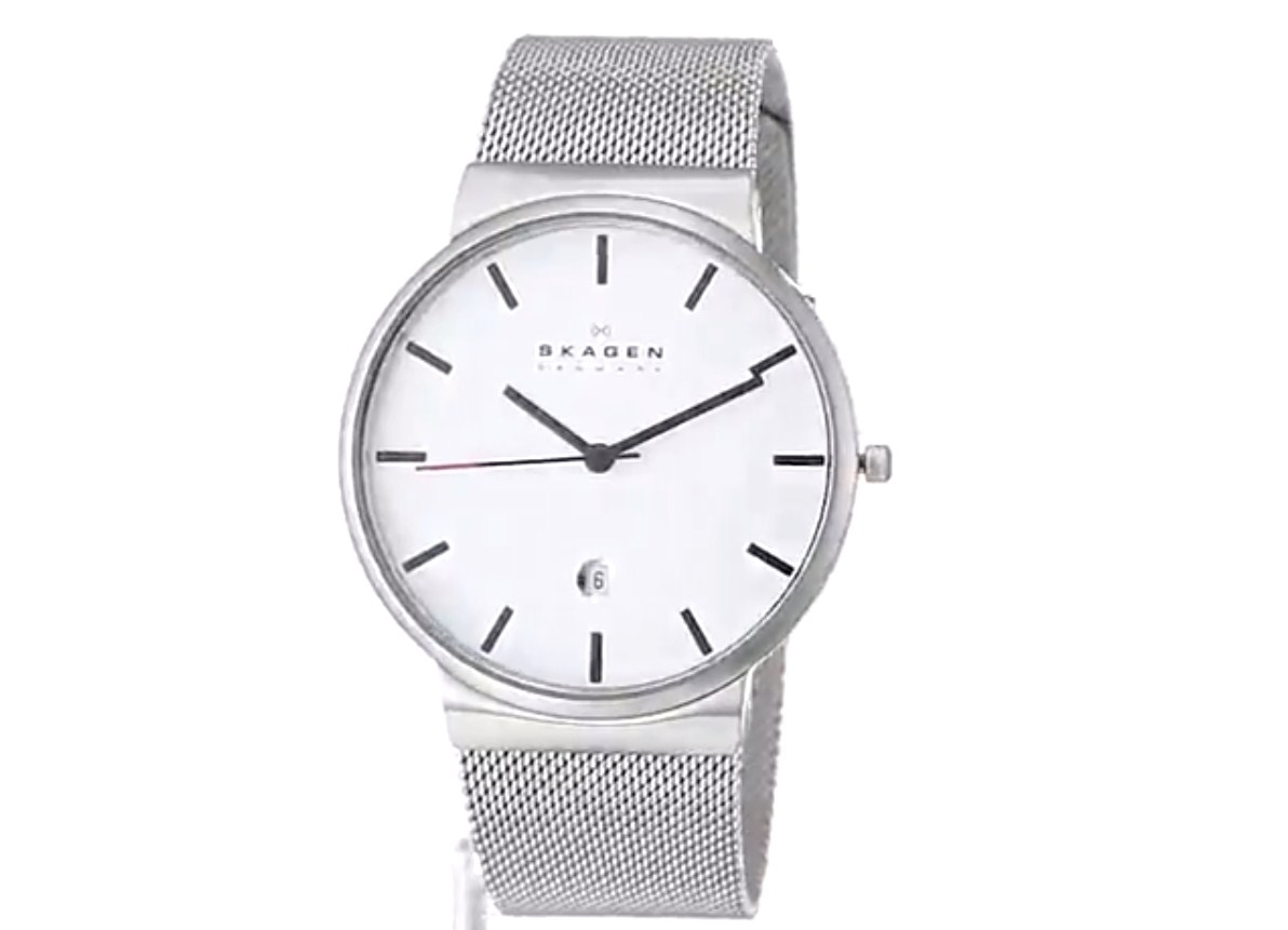 Skagen Mens SKW6052 Ancher Stainless Steel Watch with Mesh Band